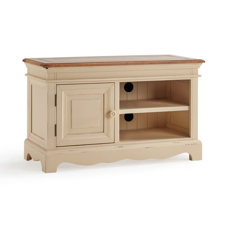 Burford Rustic Solid Oak and Distressed Paint Finish Small TV Unit