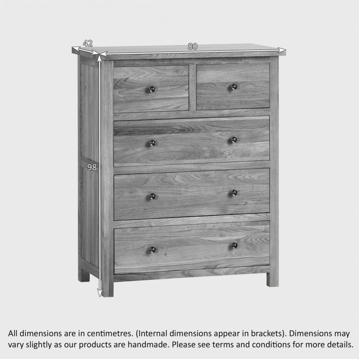 Cairo Natural Solid Oak 3+2 Chest of Drawers