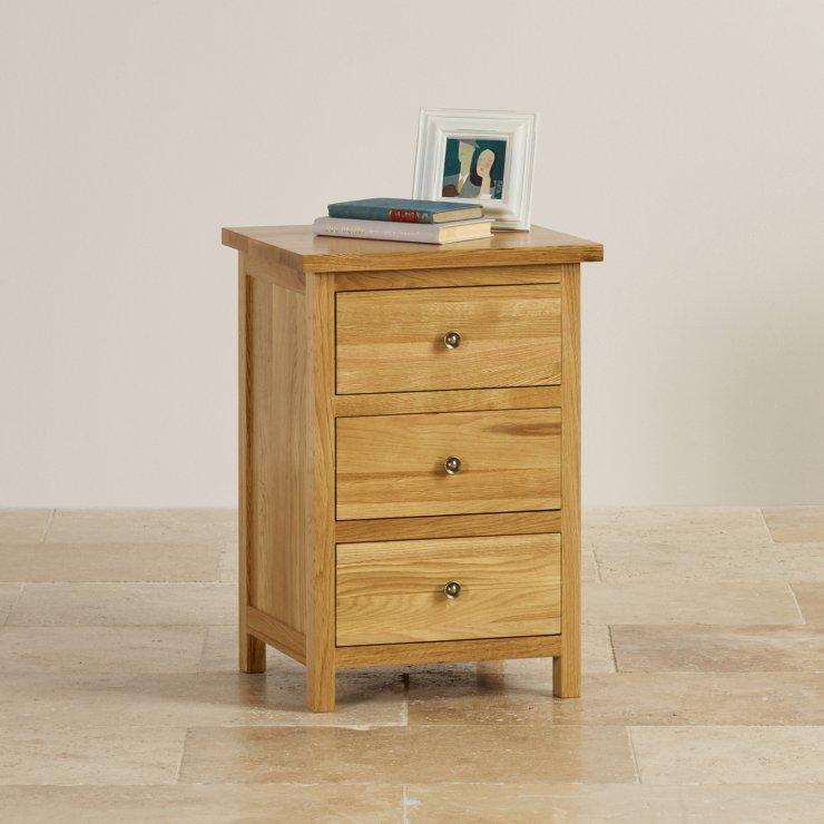 Cairo Natural Solid Oak 3 Drawer Bedside Cabinet