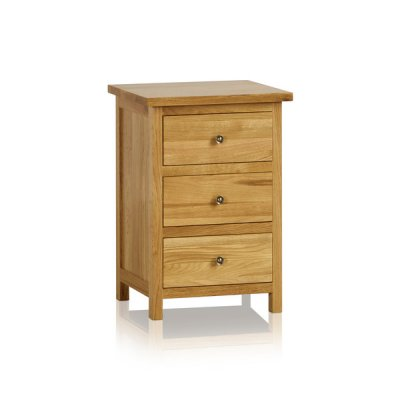 Cairo Natural Solid Oak 3 Drawer Bedside Cabinet