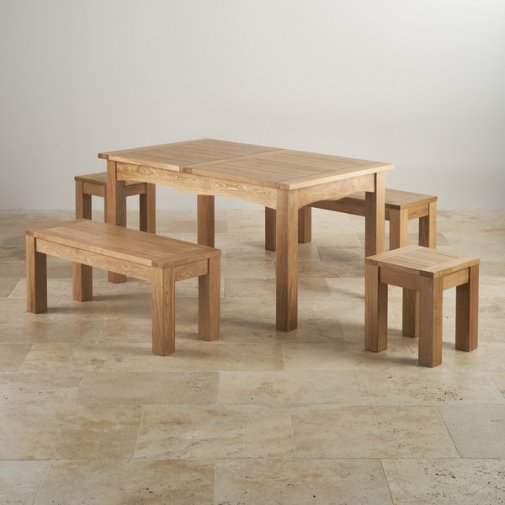 """Cairo Natural SolidOak Dining Set -5ft Extending Table with 2 x 3ft 7"""" Benches and 2 x Square Stools"""