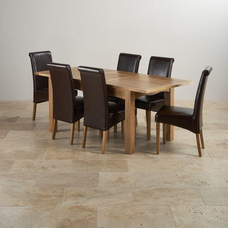 Cairo Natural Solid Oak Dining Set - 5ft Extending Table with 6 Scroll Back Brown Leather Chairs