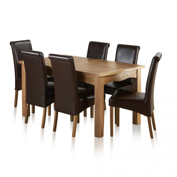 Cairo Natural Solid Oak Dining Set - 5ft Extending Table with 6 Scroll Back Brown Leather Chairs - Image 7