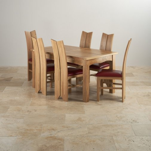 Cairo Natural Solid Oak Dining Set - Extending Table + 6 Tulip Chairs