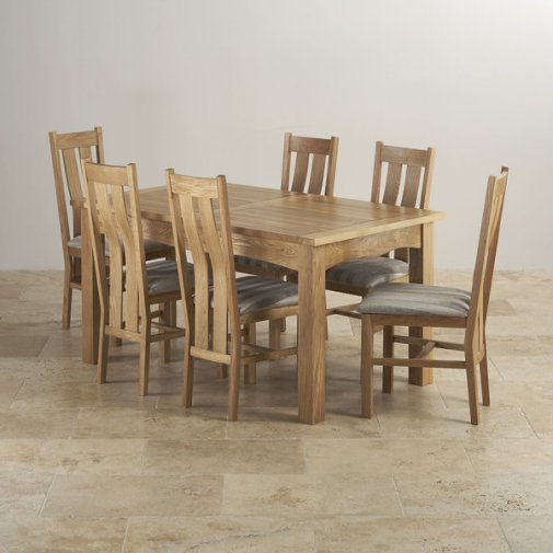 Cairo Natural Oak Dining Set - 5ft Extending Table with 6 Arched Back & Striped Silver Fabric Chairs