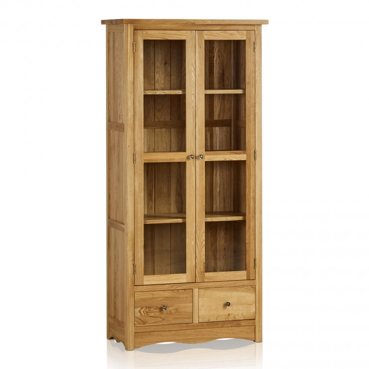 Cairo Natural Solid Oak Glazed Display Cabinet - Image 4