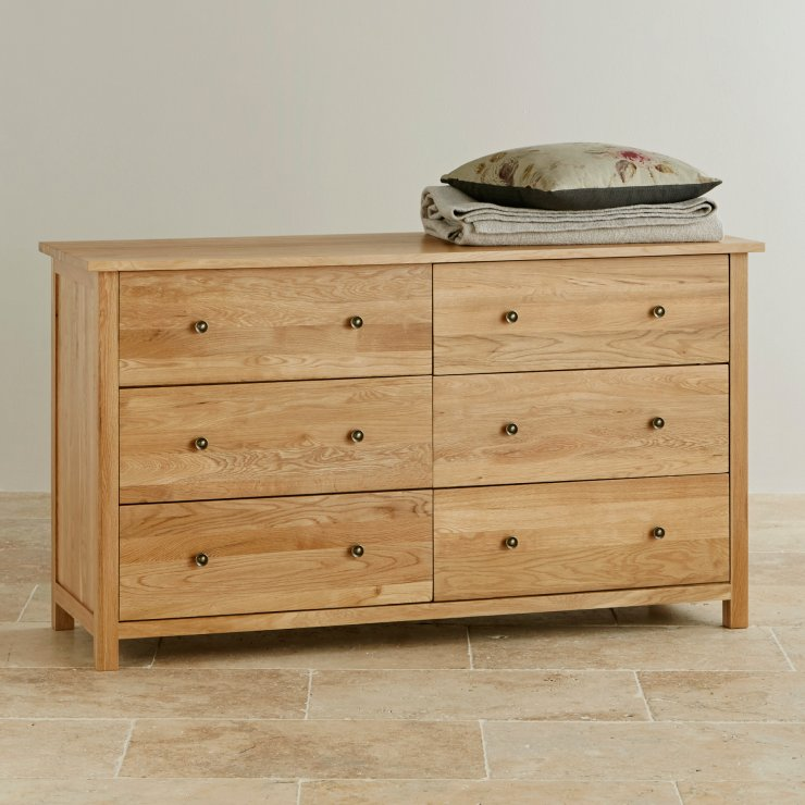 Cairo Natural Solid Oak Wide 6 Drawer Chest