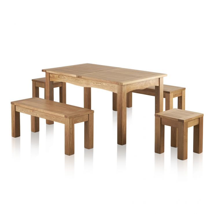 """Cairo Natural SolidOak Dining Set -5ft Extending Table with 2 x 3ft 7"""" Benches and 2 x Square Stools - Image 7"""