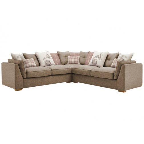 California 4 Seater Pillow Back Corner Sofa Civic Pebble