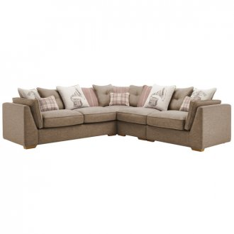 California Left Hand 4 Seater Pillow Back Split Corner Sofa in Civic Pebble