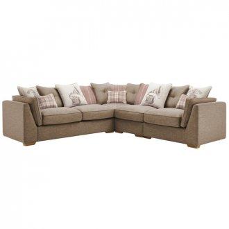 California Left Hand 4 Seater Pillow Back Split Corner Sofa in Civic Pebble