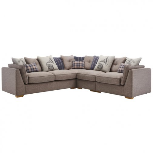 California Left Hand 4 Seater Pillow Back Split Corner Sofa in Civic Smoke