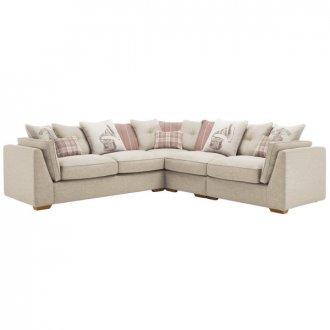 California Left Hand 4 Seater Pillow Back Split Corner Sofa in Civic Stone