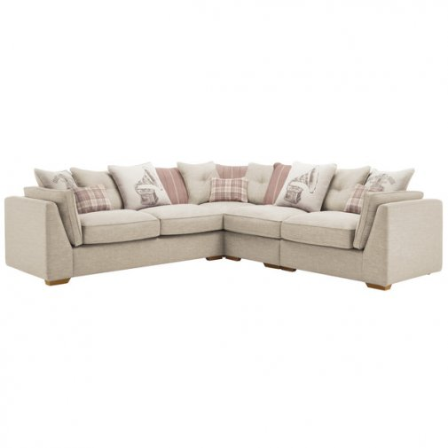 California Left Hand 4 Seater Pillow Back Split Corner Sofa in Civic Stone