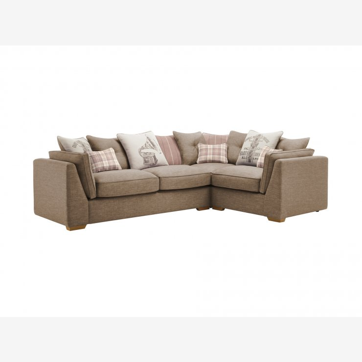 California Left Hand Corner Pillow Back Sofa in Civic Pebble