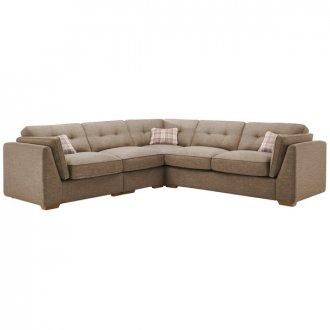 California Right Hand 4 Seater High Back Split Corner Sofa in Civic Pebble