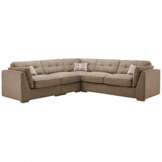 California Right Hand 4 Seater High Back Split Corner Sofa in Civic Pebble