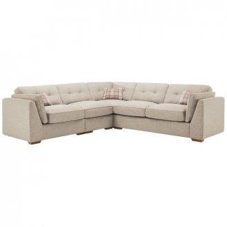 California Right Hand 4 Seater High Back Split Corner Sofa in Civic Stone