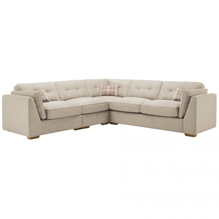California Right Hand 4 Seater High Back Split Corner Sofa in Civic Stone - Image 1