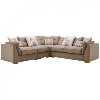 California Right Hand 4 Seater Pillow Back Split Corner Sofa in Civic Pebble