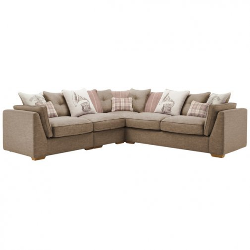 California Right Hand 4 Seater Pillow Back Split Corner Sofa in Civic Pebble