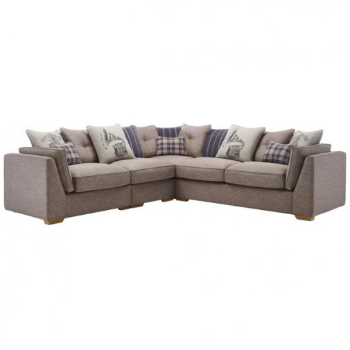 California Right Hand 4 Seater Pillow Back Split Corner Sofa in Civic Smoke