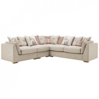 California Right Hand 4 Seater Pillow Back Split Corner Sofa in Civic Stone