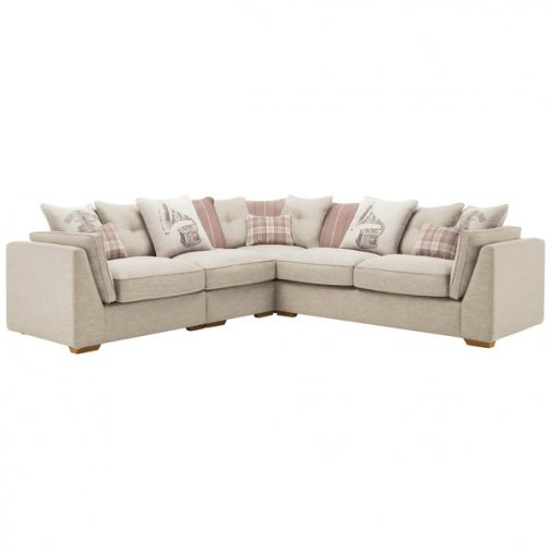 California Right Hand 4 Seater Pillow Back Split Corner Sofa in Civic Stone