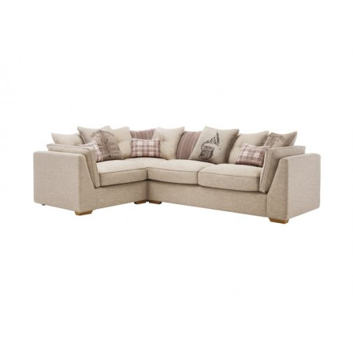 California Right Hand Corner Pillow Back Sofa in Civic Stone