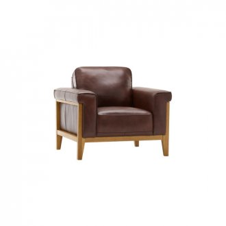 Cannes Armchair - Two Tone Brown Leather