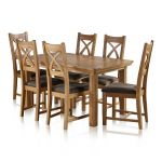 Canterbury Natural Solid Oak Dining Set - 5ft Extending Table+6 Cross Back with Plain Charcoal Pads - Thumbnail 1