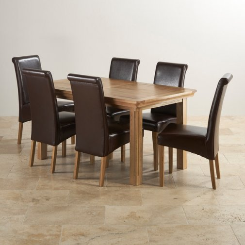 Canterbury Natural Solid Oak Dining Set - 5ft Extending Table + 6 Brown Leather Scroll Back Chairs