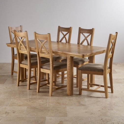 Canterbury Natural Solid Oak Dining Set - 5ft Extending Table with 6 Cross Back and Sage Chairs
