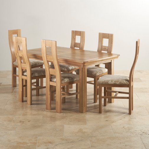 Canterbury Natural Solid Oak Dining Set - 6 Wave Back Beige Patterned Chairs