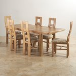 Canterbury Natural Solid Oak Dining Set - 6 Wave Back Beige Patterned Chairs - Thumbnail 2