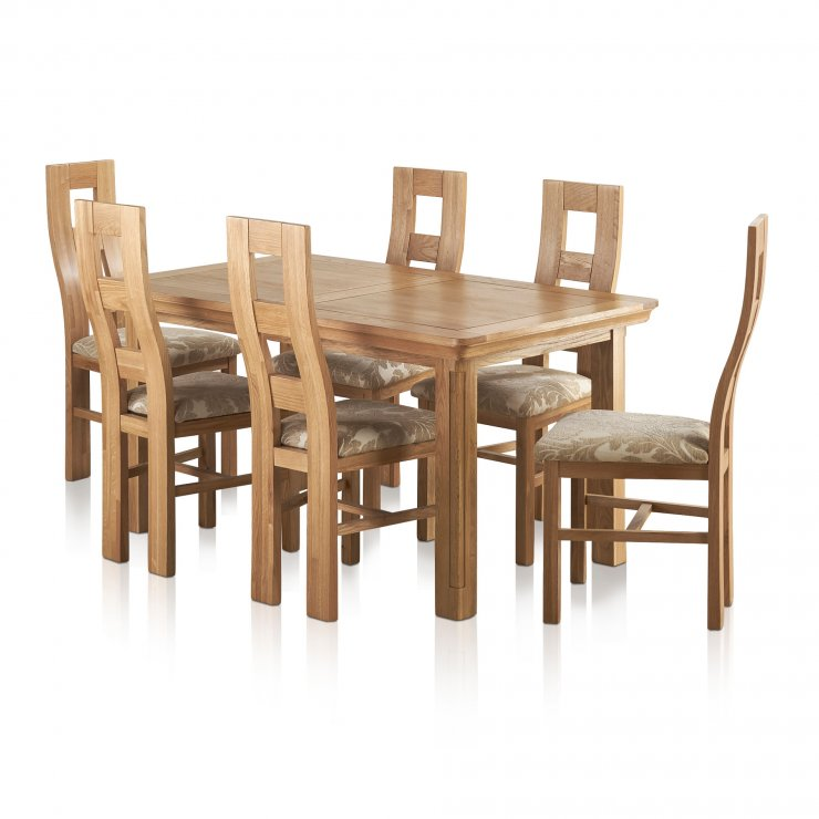 Canterbury Natural Solid Oak Dining Set - 6 Wave Back Beige Patterned Chairs - Image 8