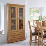Canterbury Natural Solid Oak Glazed Display Cabinet - Thumbnail 2