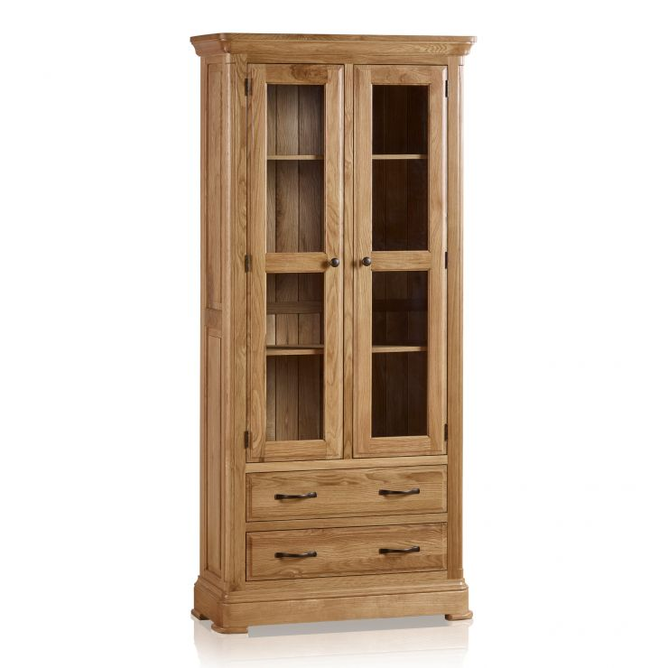 Canterbury Natural Solid Oak Glazed Display Cabinet   Image 1 Express  Delivery