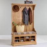 Canterbury Natural Solid Oak Hallway Unit with Check Brown Fabric Hallway Pad - Thumbnail 3