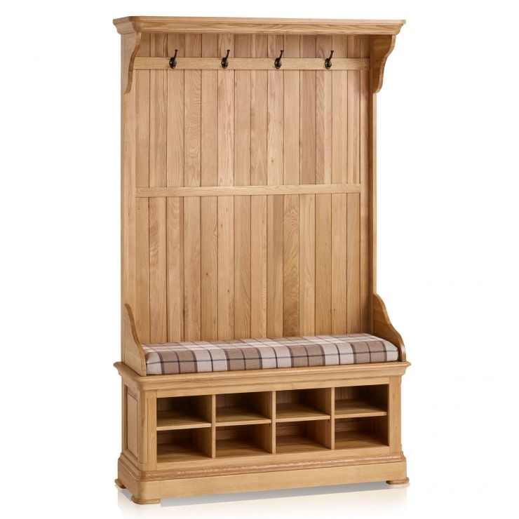 Canterbury Natural Solid Oak Hallway Unit with Check Brown Fabric Hallway Pad