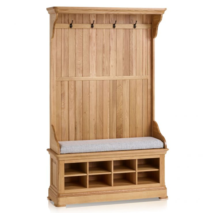 Canterbury Natural Solid Oak Hallway Unit with Plain Grey Fabric Hallway Pad