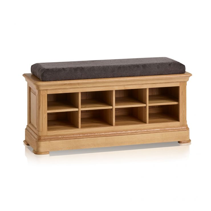 Canterbury Natural Solid Oak Shoe Storage with Plain Charcoal Fabric Hallway Pad