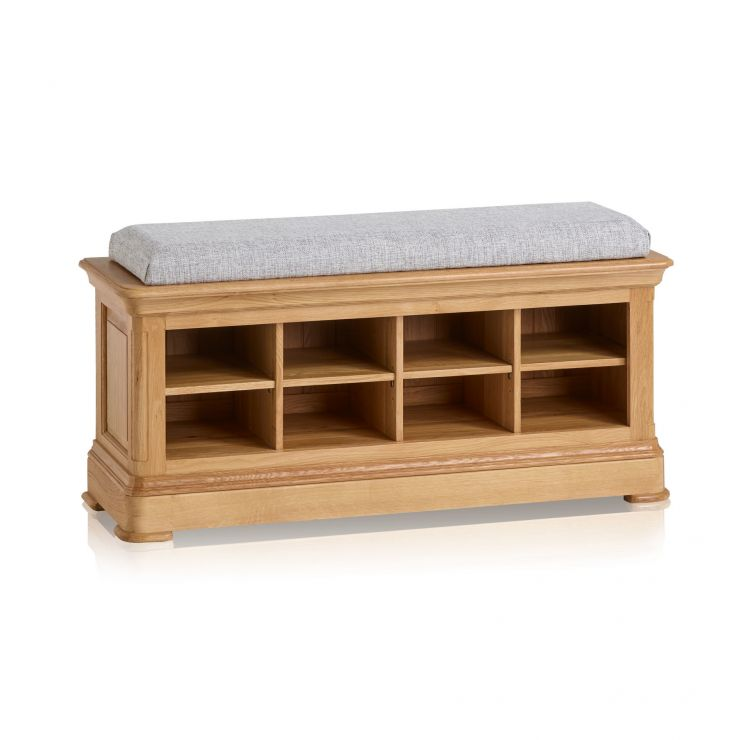 Canterbury Natural Solid Oak Shoe Storage Bench with Plain Grey Fabric Hallway Pad