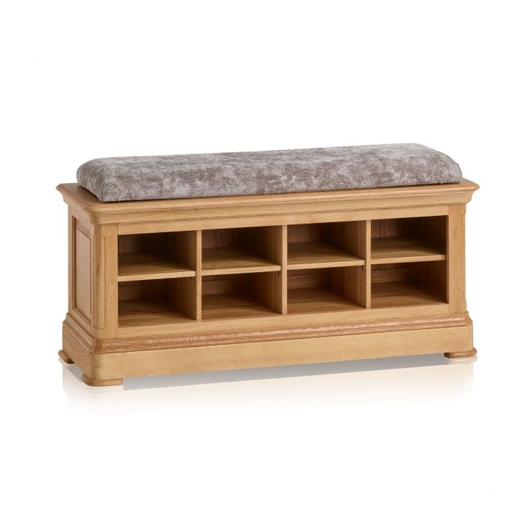 Canterbury Natural Solid Oak Shoe Storage with Plain Truffle Fabric Hallway Pad - Image 5
