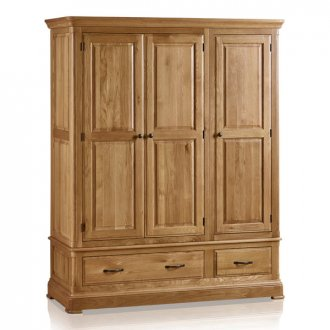 Canterbury Natural Solid Oak Triple Wardrobe