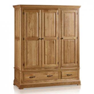 Canterbury Natural Solid Oak Triple Wardrobe