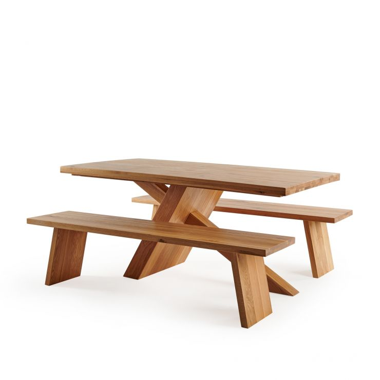 Cantilever Natural Solid Oak Table with 2 Natural Oak Benches