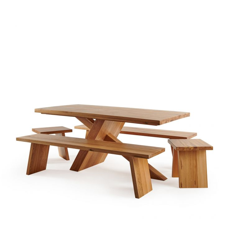 Cantilever Natural Solid Oak Table with 2 Natural Oak Benches and Stools