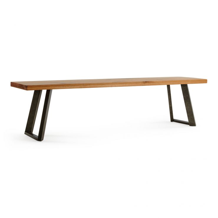 Cantilever Natural Solid Oak and Metal Bench