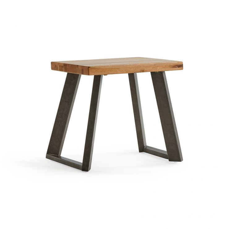 Cantilever Natural Solid Oak and Metal Stool